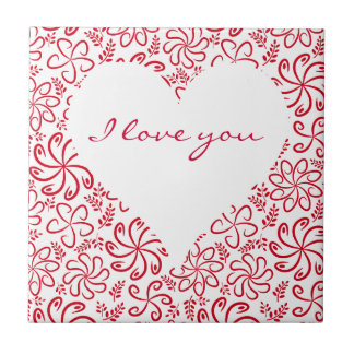 Floral heart in red white with a name small square tile