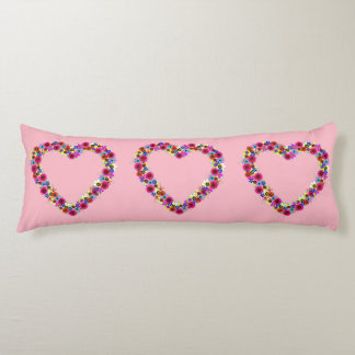 Floral Heart in Rose Pink Body Cushion