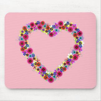 Floral Heart in Rose Pink Mouse Pads