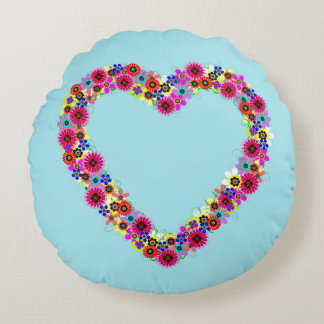 Floral Heart Round Pillow