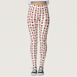 Floral Heart Pattern Leggings