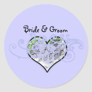 Floral Heart Periwinkle Blue and A Touch of Lime Round Sticker