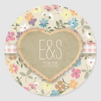 Floral Heart Print Wedding Invitation Stickers