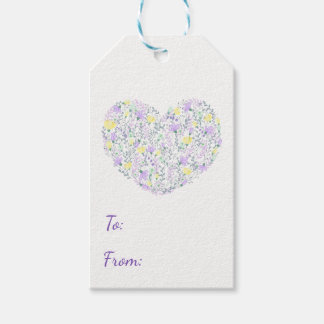 Floral Heart Purple Lavender Flowers Wedding Gift Tags
