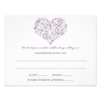 Floral Heart Purple RSVP Postcard Invites