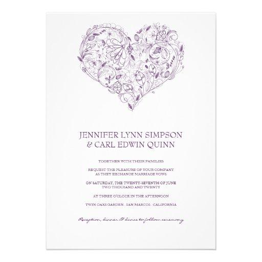 Floral Heart Purple Wedding Invitation