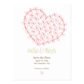 Floral Heart Save the Date: Pink Postcard