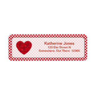 Floral Heart Shapes Vivid Red Roses Personalized Return Address Label