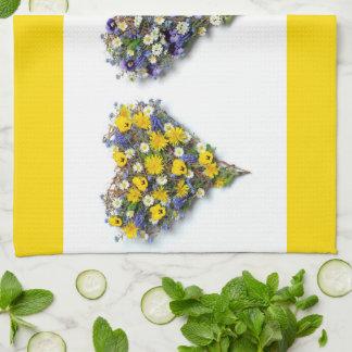 Floral heart tea towel