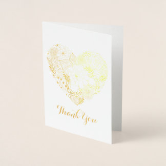 FLORAL HEART THANK YOU CARD REAL GOLD FOIL