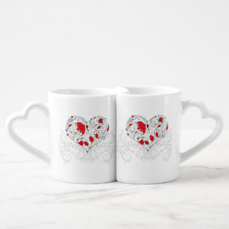 Floral Heart Valentine Mother's Day Red Twin Set Lovers Mug Sets