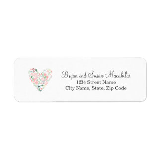 Floral Heart Wedding Return Address Label