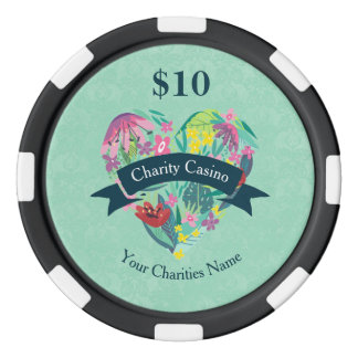 Floral Heart with Tropical Flowers Charity Casino Poker Chips