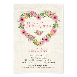Floral Heart Wreath Cream Bridal Shower Invitation