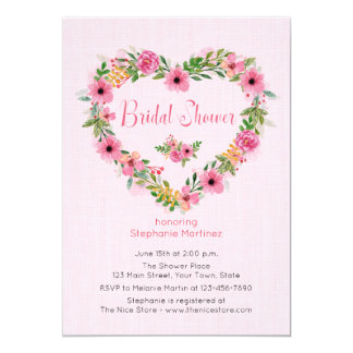 Floral Heart Wreath Pink Bridal Shower Invitation