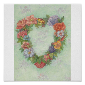 FLORAL HEART WREATH POSTER