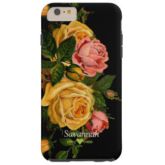 Floral Heirloom Roses Black iphone 6 case Tough iPhone 6 Plus Case