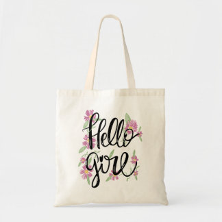 Floral Hello girl Typographic scripted text Tote Bag