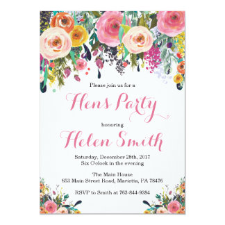 Floral Hens Party Invitation Card Watercolor