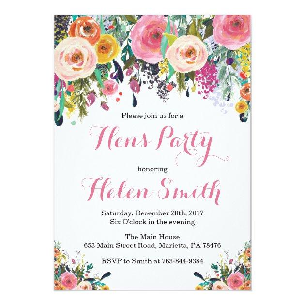 Floral Hens Party Invitation Card Watercolor | Zazzle.com.au