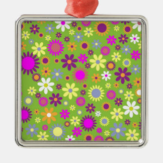 Floral Hipster Gifts Silver-Colored Square Decoration