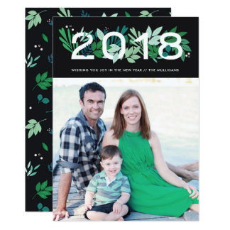 Floral Holiday Card Happy New Year 2018 with photo