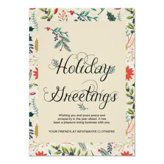 Floral Holiday Greetings Business Corporate Card