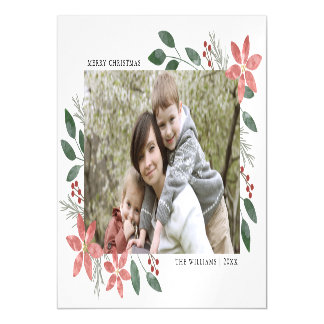 Floral Holiday -  Magnetic Photo Greeting Card
