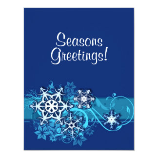 Floral Holiday Snowflake Invitation in Blue