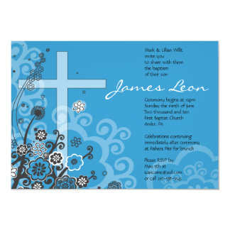 Floral Holy Cross Baptism Christening Invitation