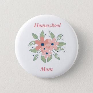 Floral Homeschool Pink and Green Floral 6 Cm Round Badge