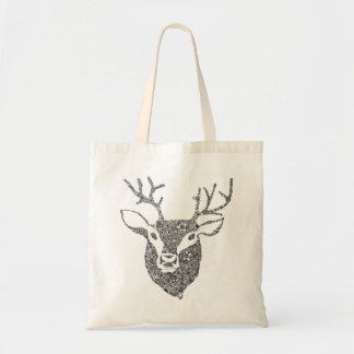 Floral Illustrated Deer Head Bag