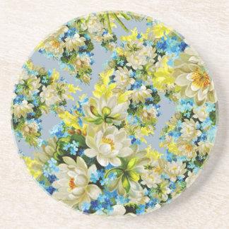 Floral illustration beverage coasters