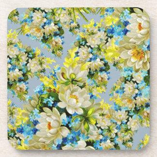 Floral illustration drink coaster