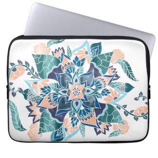 Floral illustration modern coral blue watercolor laptop computer sleeve