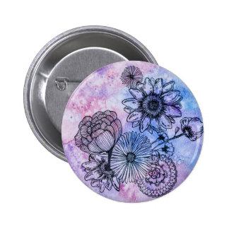 Floral Illustration on Watercolor By Megaflora 6 Cm Round Badge