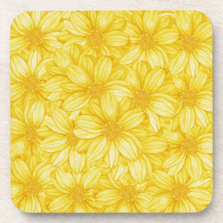 Floral Illustrative Yellow Print Coaster