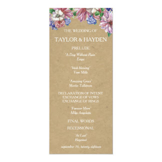 Floral in Love Wedding Program Card