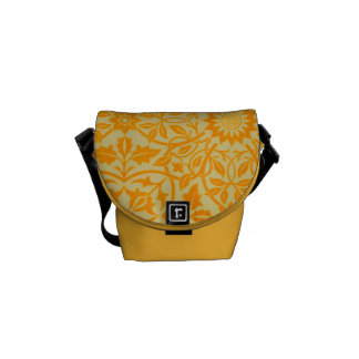 Floral in Orange and Gold Courier Bags