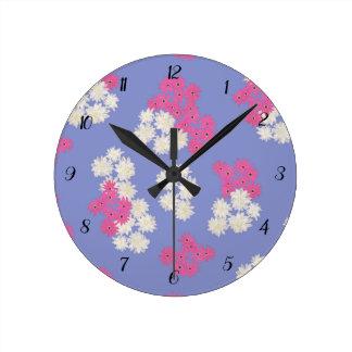 Floral Jacaranda Colour Wall Clock