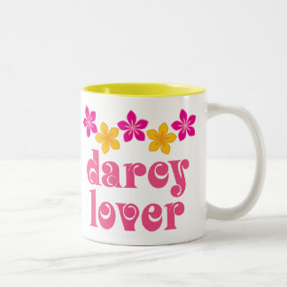 Floral Jane Austen Darcy Lover Gift Two-Tone Mug