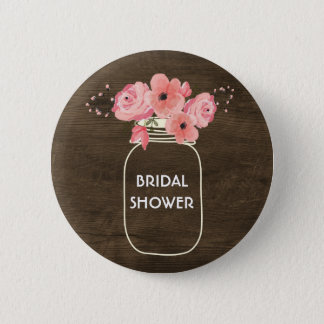 Floral Jar & Lights on Rustic Wood Bridal Shower 6 Cm Round Badge