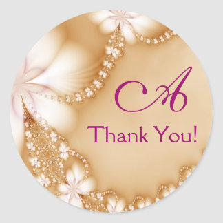 Floral Jewel, Thank You! Classic Round Sticker