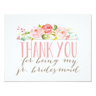 Floral Junior Bridesmaid Thank You Card