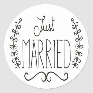Floral Just Married Black & White Wedding Stickers