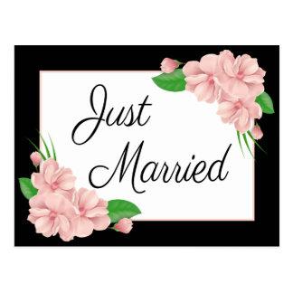 Floral Just Married Pink & Black Flower Wedding Postcard