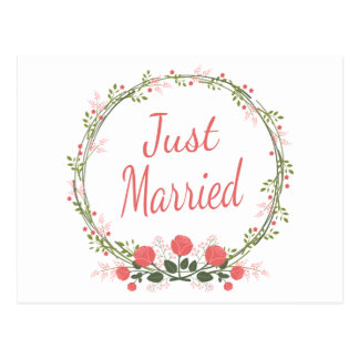 Floral Just Married Rose Wreath Pink Red Wedding Postcard