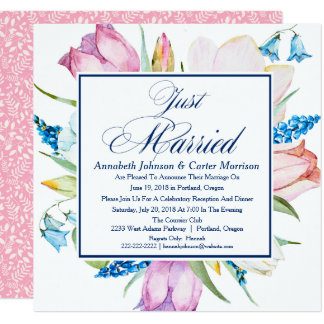 "Floral ""Just Married"" Wedding Announcement"