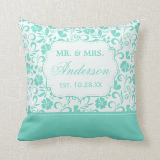 Floral Just Married Wedding Date Pastel Mint Green Cushion