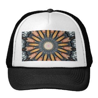 Floral Kaleidoscope Art Mosaic Orange Black White Cap